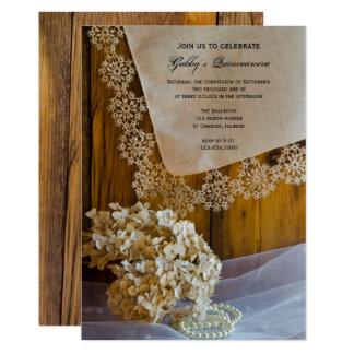 Rustic Country Lace Quinceañera Party Invitation