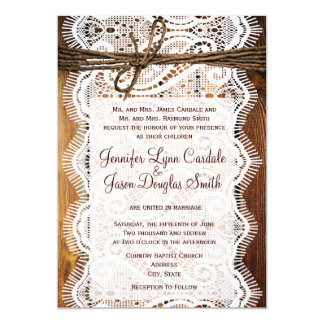 Rustic Country Lace Twine Wood Wedding Invites