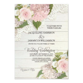 Rustic Country Lace Wood n Pink Hydrangeas Wedding Invitation