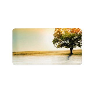 Rustic Country Lakeside Sunset Tree Address Label