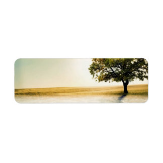 Rustic Country Lakeside Sunset Tree Return Address Label