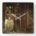 Rustic Country Lantern and Barrel Cabin Square Wall Clock