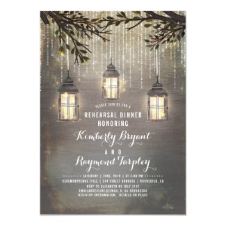 Rustic Country Lanterns Garden Rehearsal Dinner Invitation