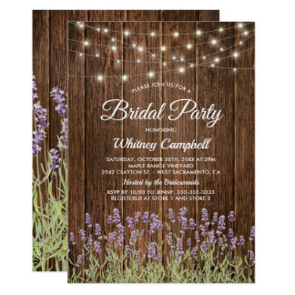 Rustic Country Lavender Lights Bridal Shower Card