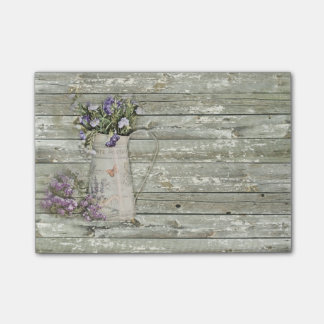 rustic country lavender primitive barn wood post-it notes