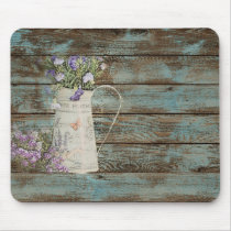 rustic country lavender whitewash blue barn wood mouse pad