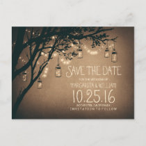 rustic country lights mason jars save the date announcement postcard