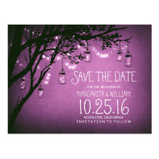 rustic country lights mason jars save the date post cards