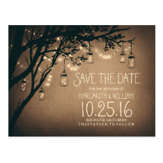 Rustic Country Lights Mason Jars Save The Date Postcard at Zazzle