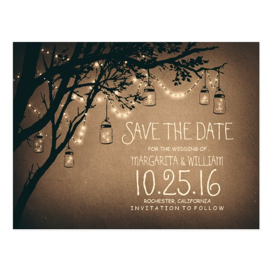 rustic country lights mason jars save the date postcard | Zazzle