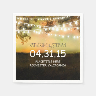 rustic country lights wedding paper napkins
