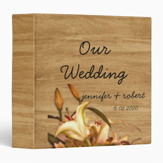 Rustic Country Lily Watercolor Wedding Album 3 Ring Binder