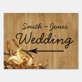 Rustic Country Lily Wedding Direction Sign