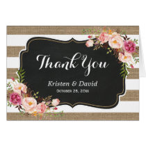 Rustic Country Linen Burlap Floral Thank You