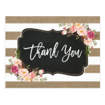 Rustic Country Linen Burlap Floral Thank You Postcard