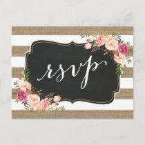 Rustic Country Linen Burlap Floral Wedding RSVP Invitation Postcard
