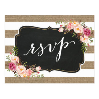 Rustic Country Linen Burlap Floral Wedding RSVP Postcard