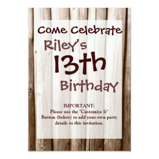 Rustic Country Log Cabin Distressed Vintage Wood Personalized Invites