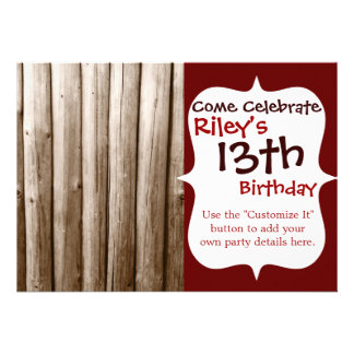 Rustic Country Log Cabin Distressed Vintage Wood Invitations