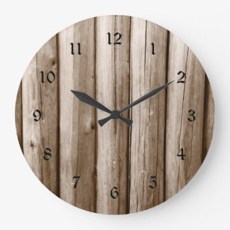 Rustic Country Log Cabin Distressed Vintage Wood Large Clock