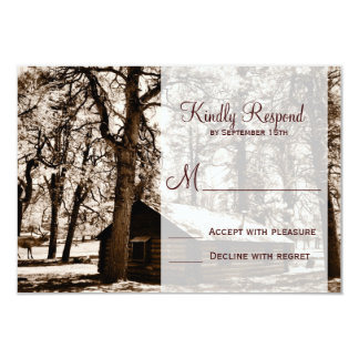 Rustic Country Log Cabin Pine Wedding RSVP Cards Personalized Invitation