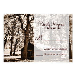 Rustic Country Log Cabin Pine Wedding RSVP Cards