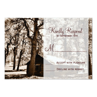 Rustic Country Log Cabin Pine Wedding RSVP Cards Personalized Announcements