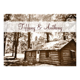 Rustic Country Log Cabin Sepia Wedding Invitations Announcement