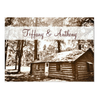 Rustic Country Log Cabin Sepia Wedding Invitations