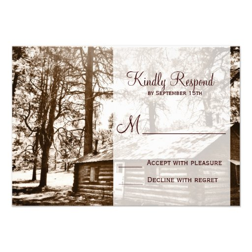 Rustic Country Log Cabin Sepia Wedding RSVP Cards