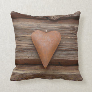 Rustic Country Log Cabin Wood Heart Throw Pillow