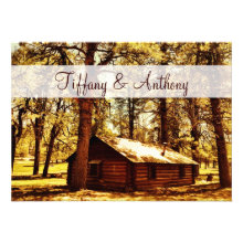 Rustic Country Log Cabin Woods Wedding Invitations Custom Invitation