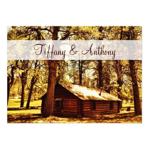 Rustic Country Log Cabin Woods Wedding Invitations Custom Invitation