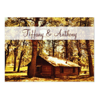 Rustic Country Log Cabin Woods Wedding Invitations