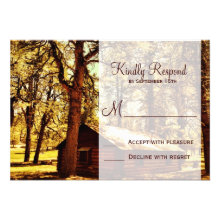 Rustic Country Log Cabin Woods Wedding RSVP Cards