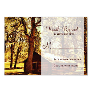 Rustic Country Log Cabin Woods Wedding RSVP Cards Personalized Announcement