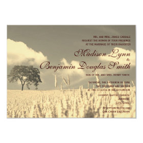 Rustic Country Lone Tree Wedding Invitations 4.5