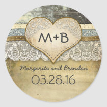 Rustic Country Love Heart Wood Wedding Classic Round Sticker