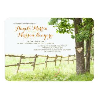 Rustic country love tree wedding invitations