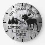 Rustic Country Loving Life at the Cabin Moose Large Clock
