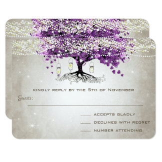 Rustic Country Luxe Purple Heart Leaf Wedding Card