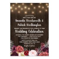 Rustic Country Marsala Peony Wedding Invitations