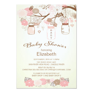 Rustic Country Mason Jar Baby Shower 5x7 Paper Invitation Card