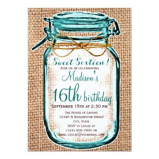 "Rustic Country Mason Jar Birthday Invitation 4.5"" X 6.25"" Invitation Card"
