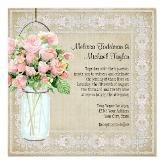 Rustic Country Mason Jar Blush Pink Roses Bouquet Card