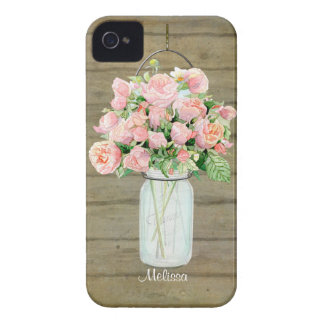Rustic Country Mason Jar Blush Pink Roses Bouquet iPhone 4 Case-Mate Cases