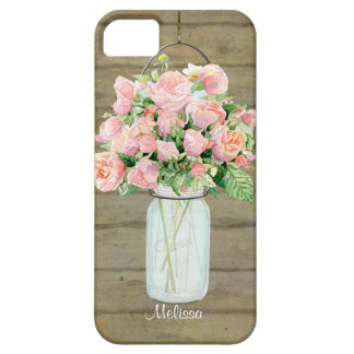Rustic Country Mason Jar Blush Pink Roses Bouquet iPhone 5 Case