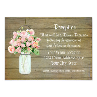 "Rustic Country Mason Jar Blush Pink Roses Bouquet 4.5"" X 6.25"" Invitation Card"