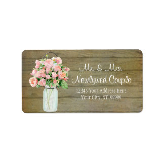Rustic Country Mason Jar Blush Pink Roses Bouquet Label