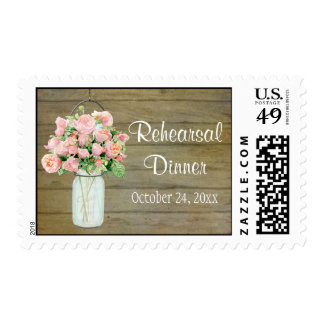 Rustic Country Mason Jar Blush Pink Roses Bouquet Postage